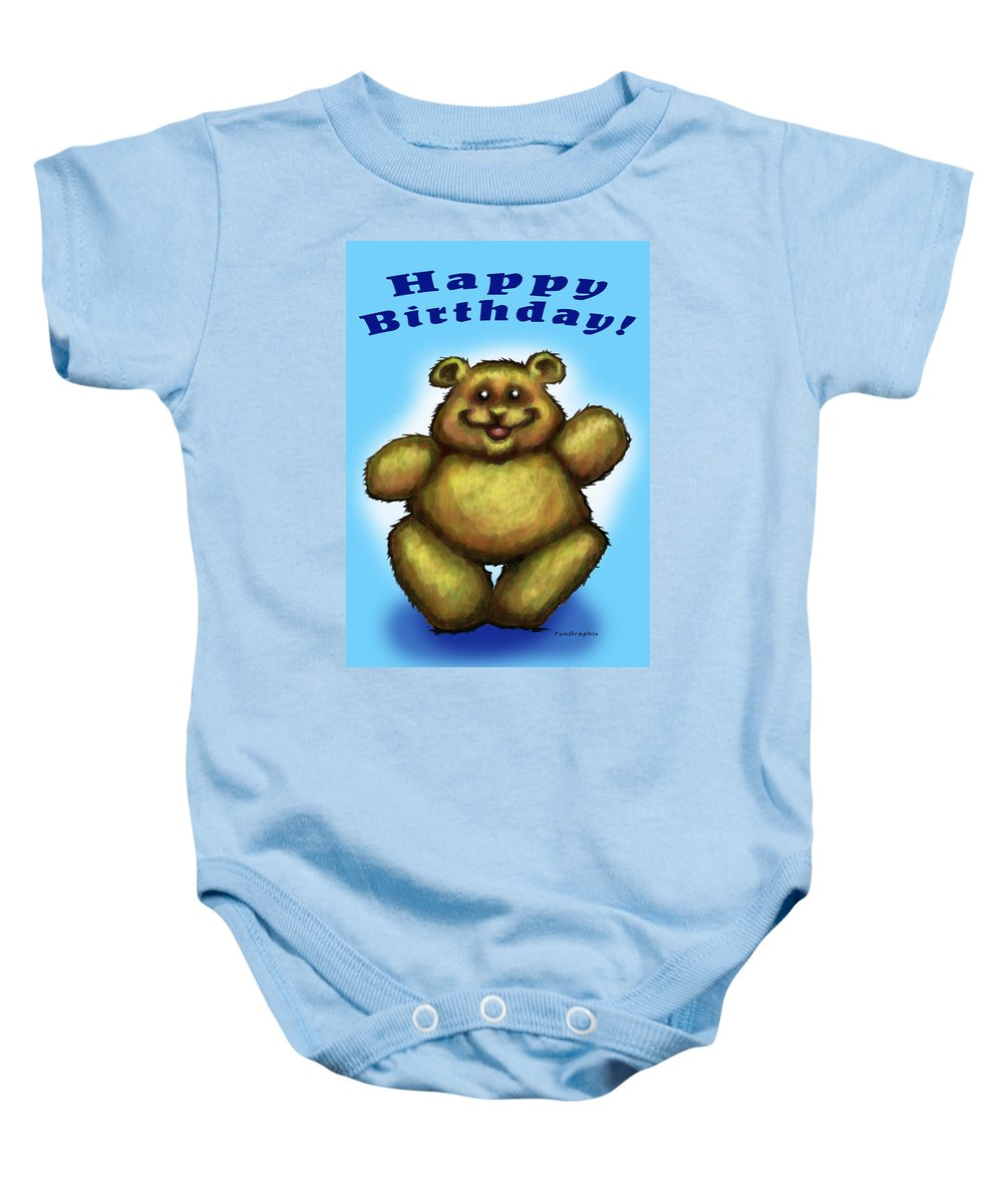 Happy Birthday Baby Onesie featuring the greeting card Happy Birthday Bear by Kevin Middleton