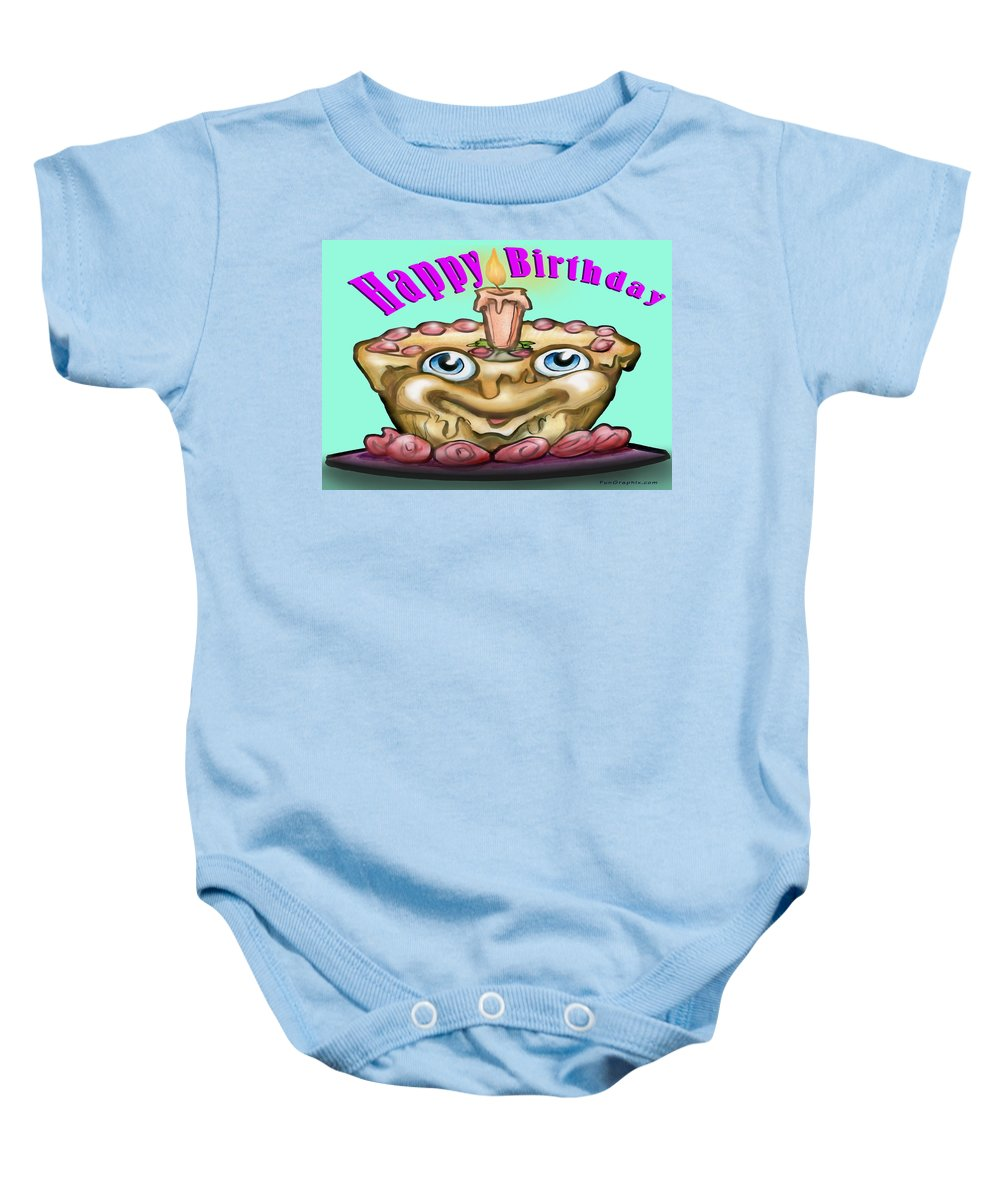 Happy Birthday Baby Onesie featuring the greeting card Happy Birthday by Kevin Middleton