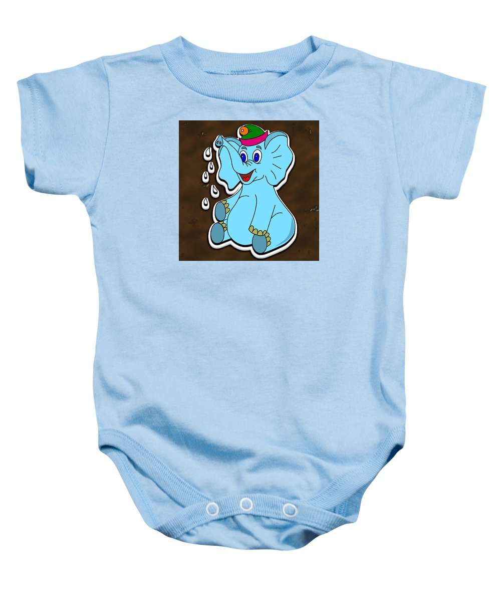 Background Baby Onesie featuring the digital art Happy Blue Elephant Gingerbread by Miroslav Nemecek