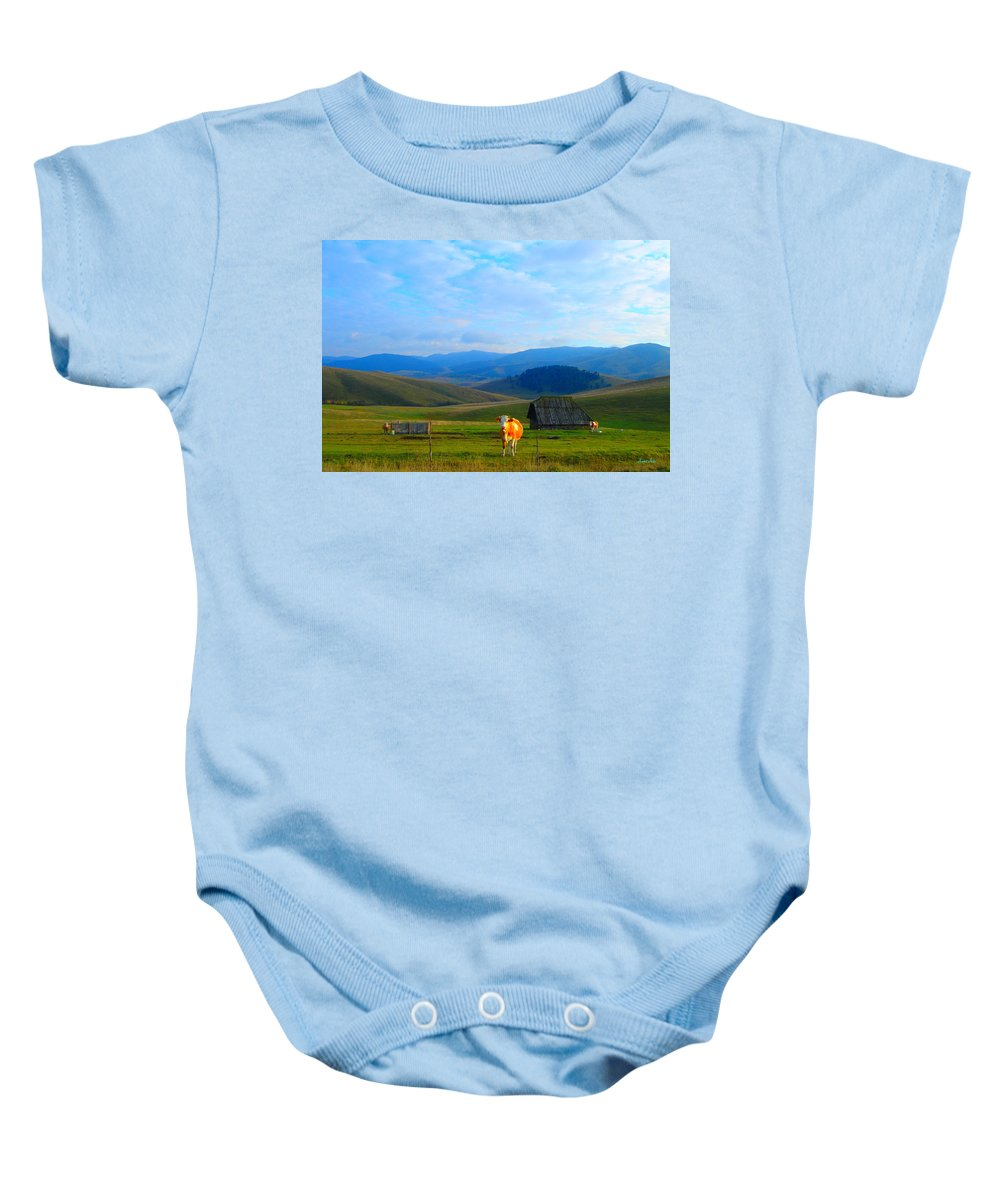 Happy Baby Onesie featuring the photograph Happy Cow by Marko Mitic