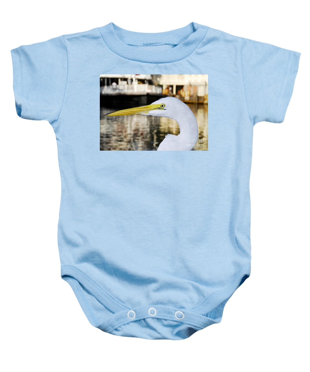 Egret Baby Onesie featuring the photograph Harbor Egret by David Lee Thompson