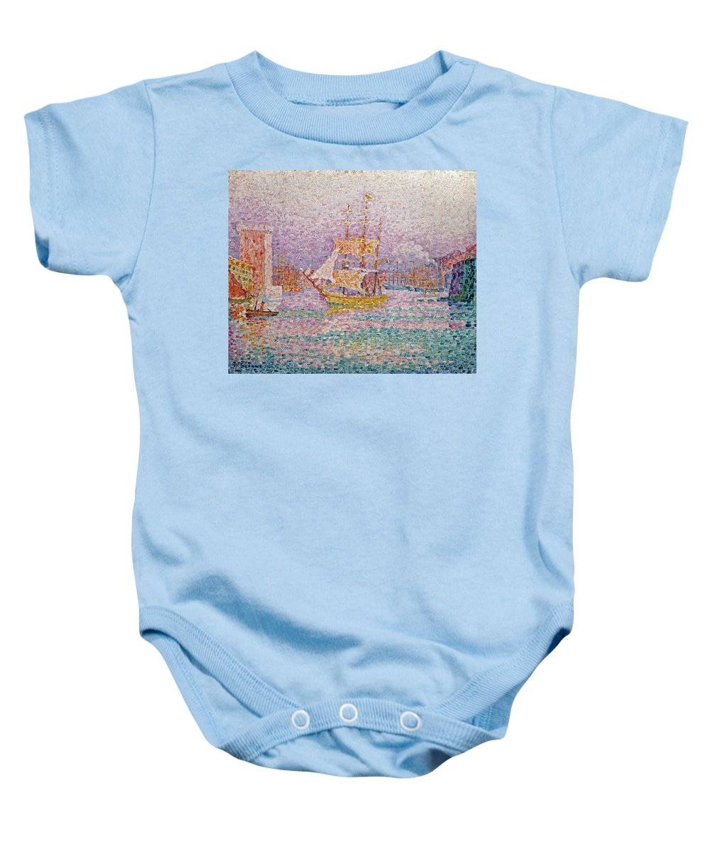 Harbour At Marseilles Baby Onesie featuring the painting Harbour At Marseilles by Paul Signac