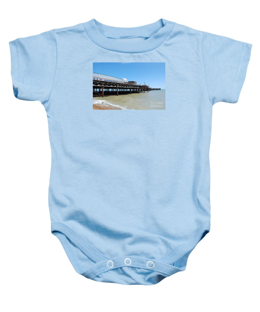 Hastings Baby Onesie featuring the photograph Hastings Pier, East Sussex by David Fowler