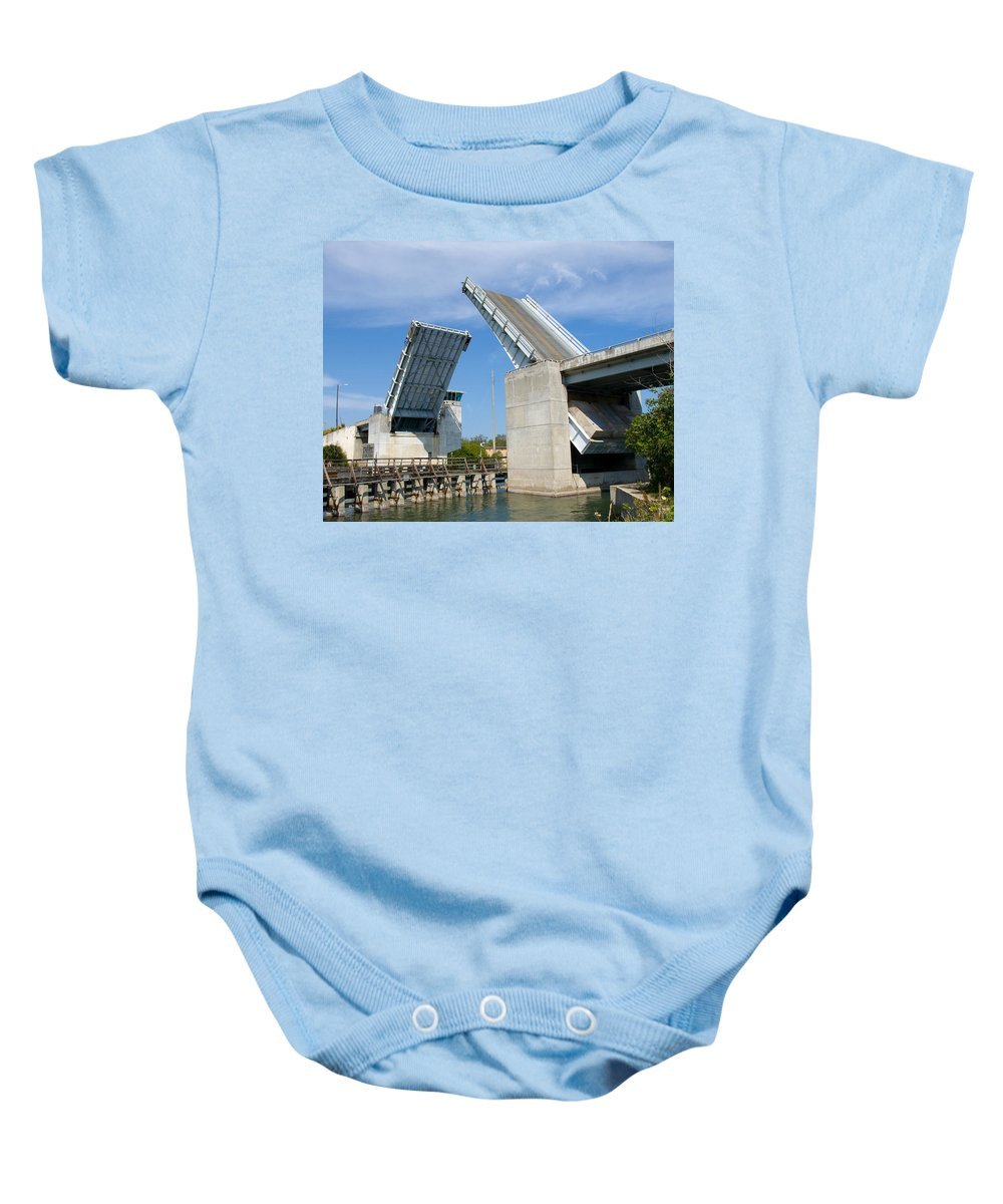 Haulover; Haul; Over; Canal; Waterway; Florida; Drawbridge; Draw; Bridge; Open; Swing; Scene; Scener Baby Onesie featuring the photograph Hauover Canal In Florida by Allan Hughes
