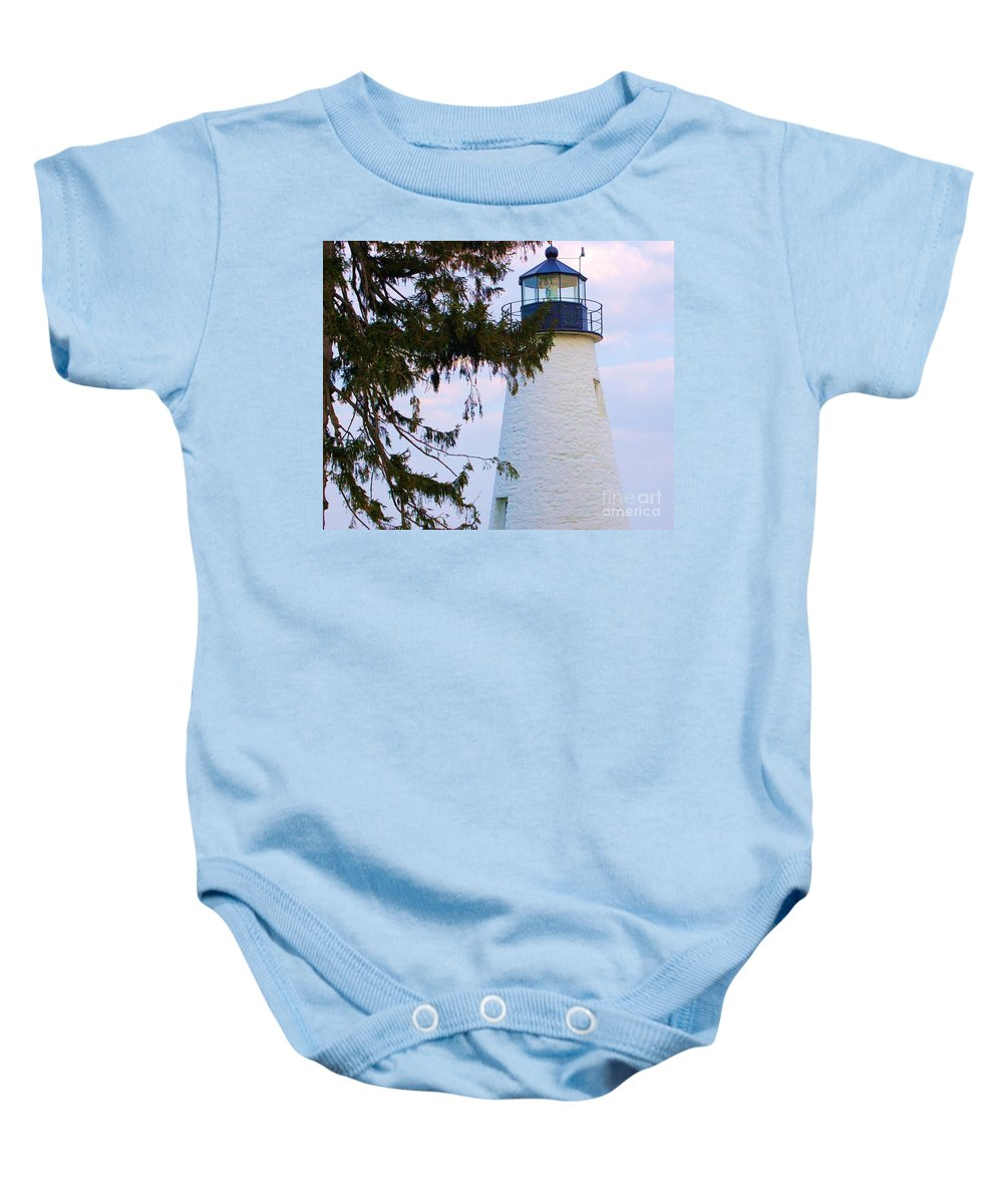 Lighthouse Baby Onesie featuring the photograph Havre De Grace Lighthouse by Debbi Granruth