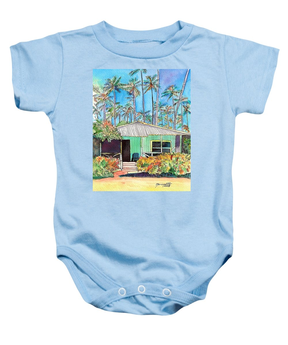 Cottage Baby Onesie featuring the painting Hawaiian Cottage I by Marionette Taboniar