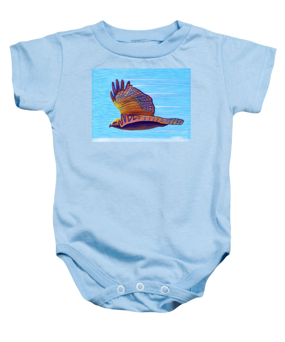 Hawk Baby Onesie featuring the painting Hawk Speed by Brian Commerford