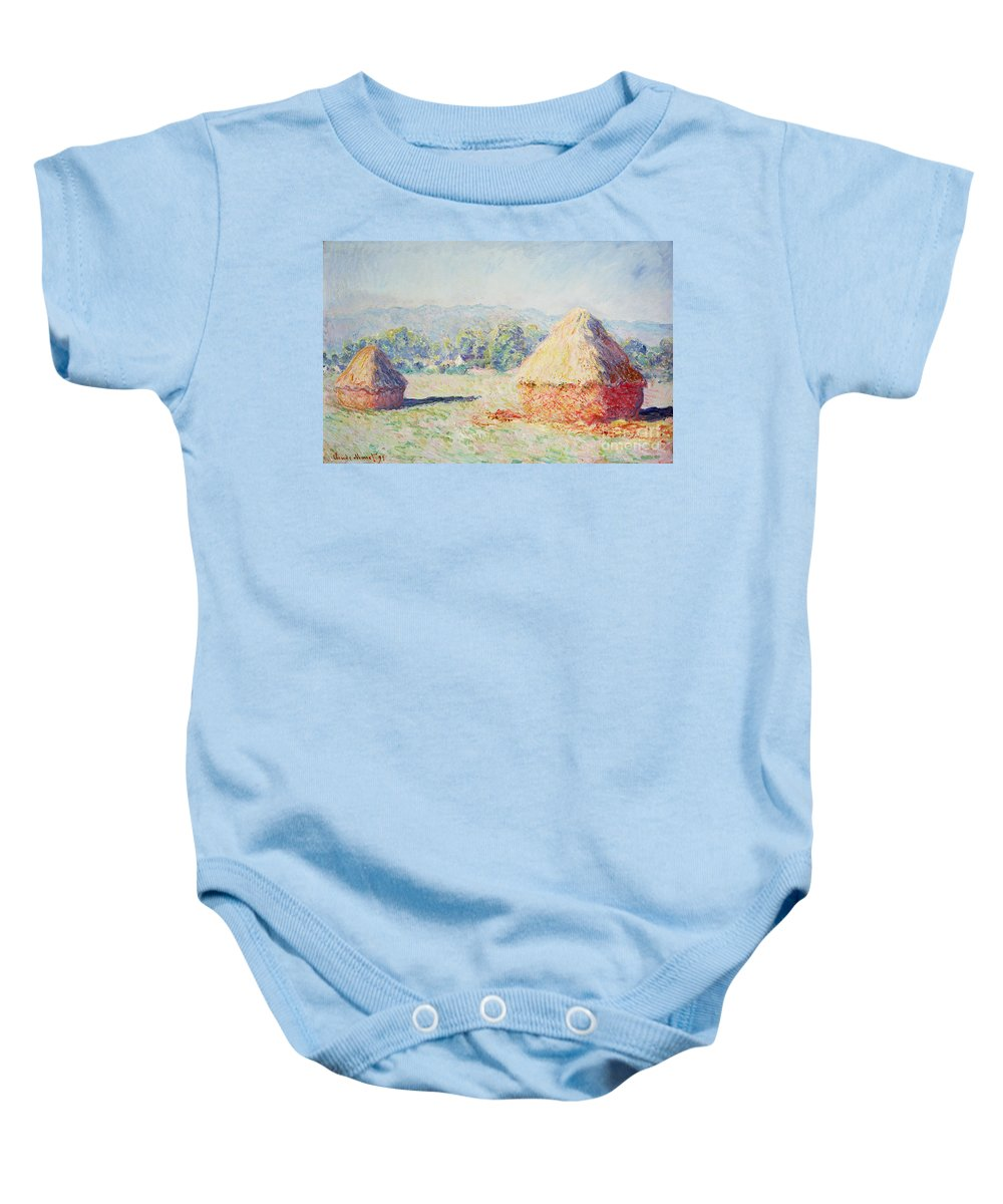 Haystacks Baby Onesie featuring the painting Haystacks In The Sun by Claude Monet
