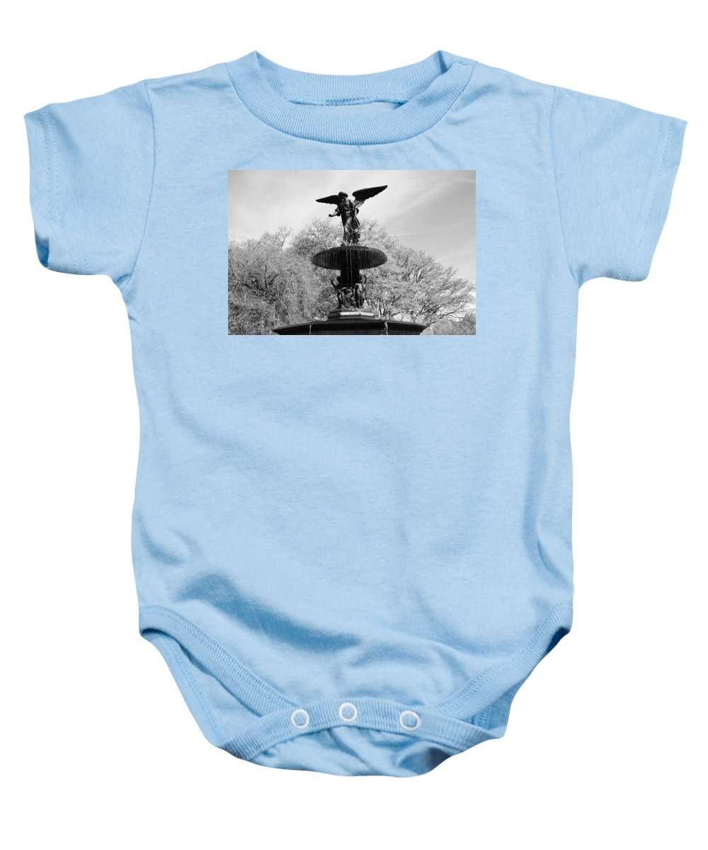 Bethesda Fountain Baby Onesie featuring the photograph Head Down by Catie Canetti
