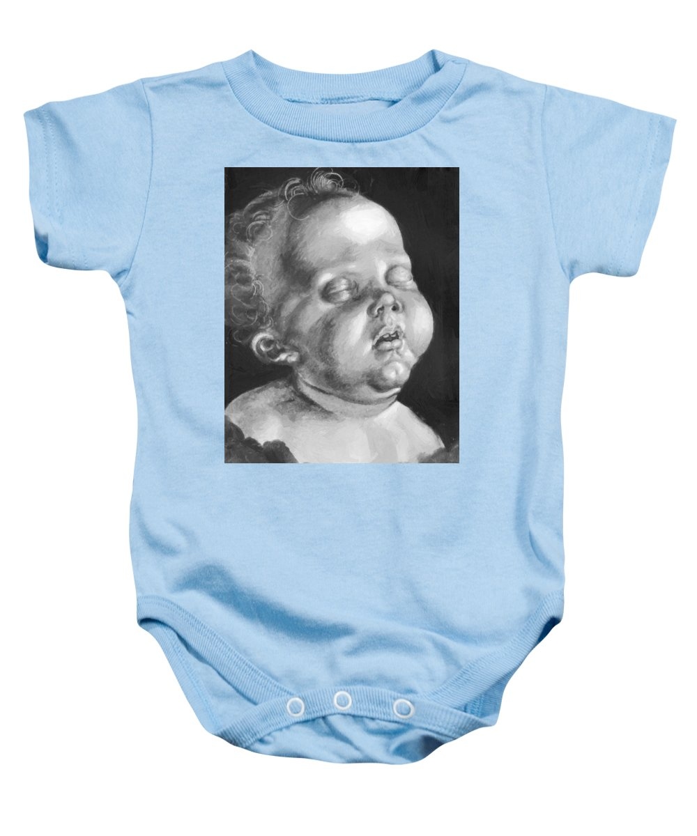 Head Baby Onesie featuring the painting Head Of A Child by Durer Albrecht
