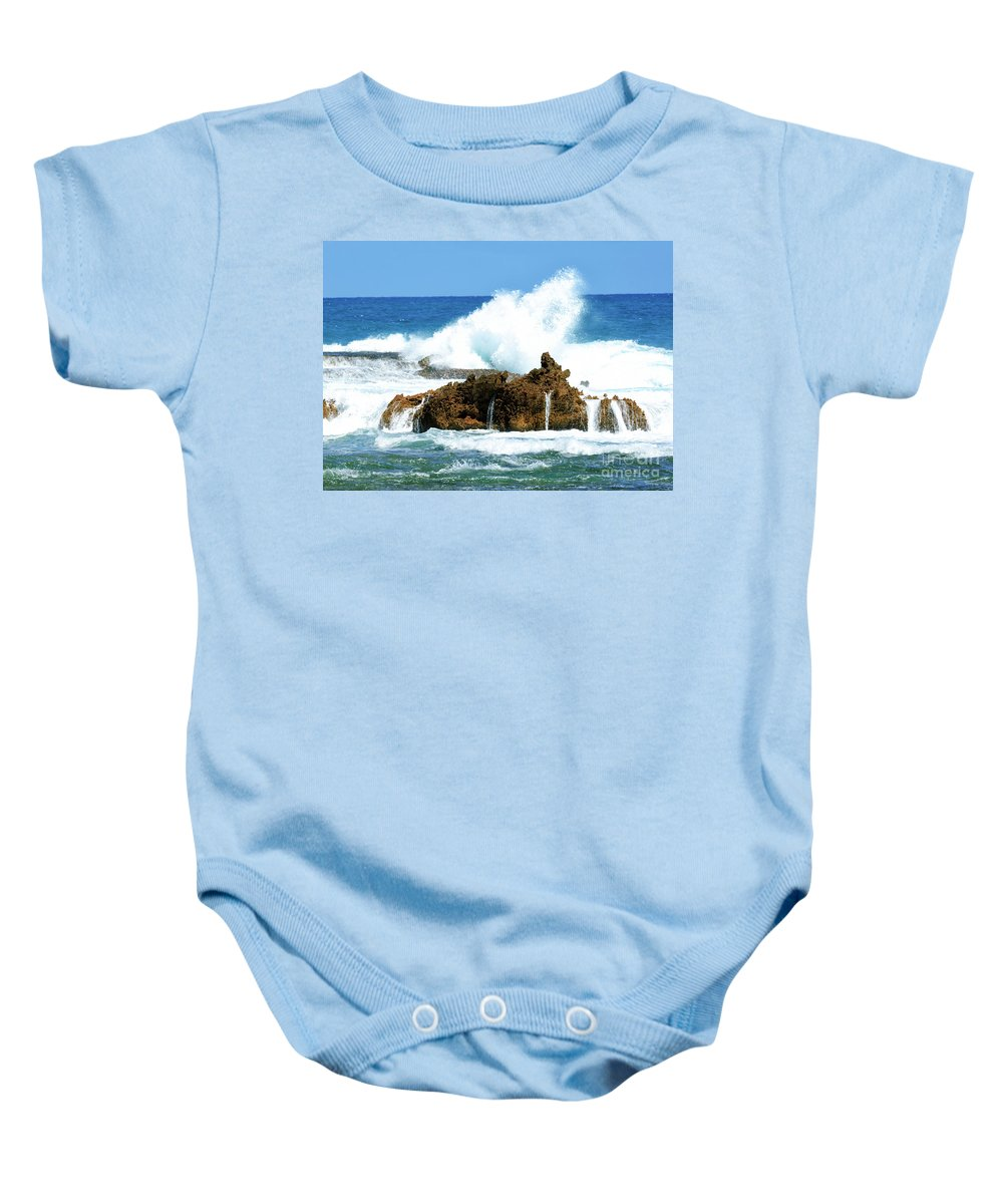 Landscape Baby Onesie featuring the photograph Heavy Seas by Genevieve Vallee