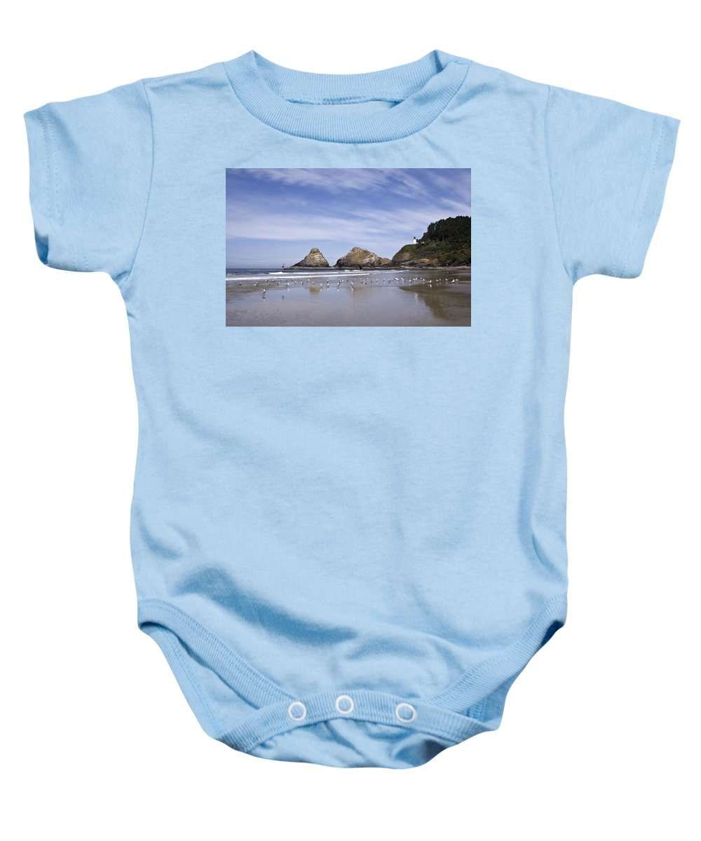 Landscape Baby Onesie featuring the photograph Heceta Head Lighthouse 1 by Lee Santa