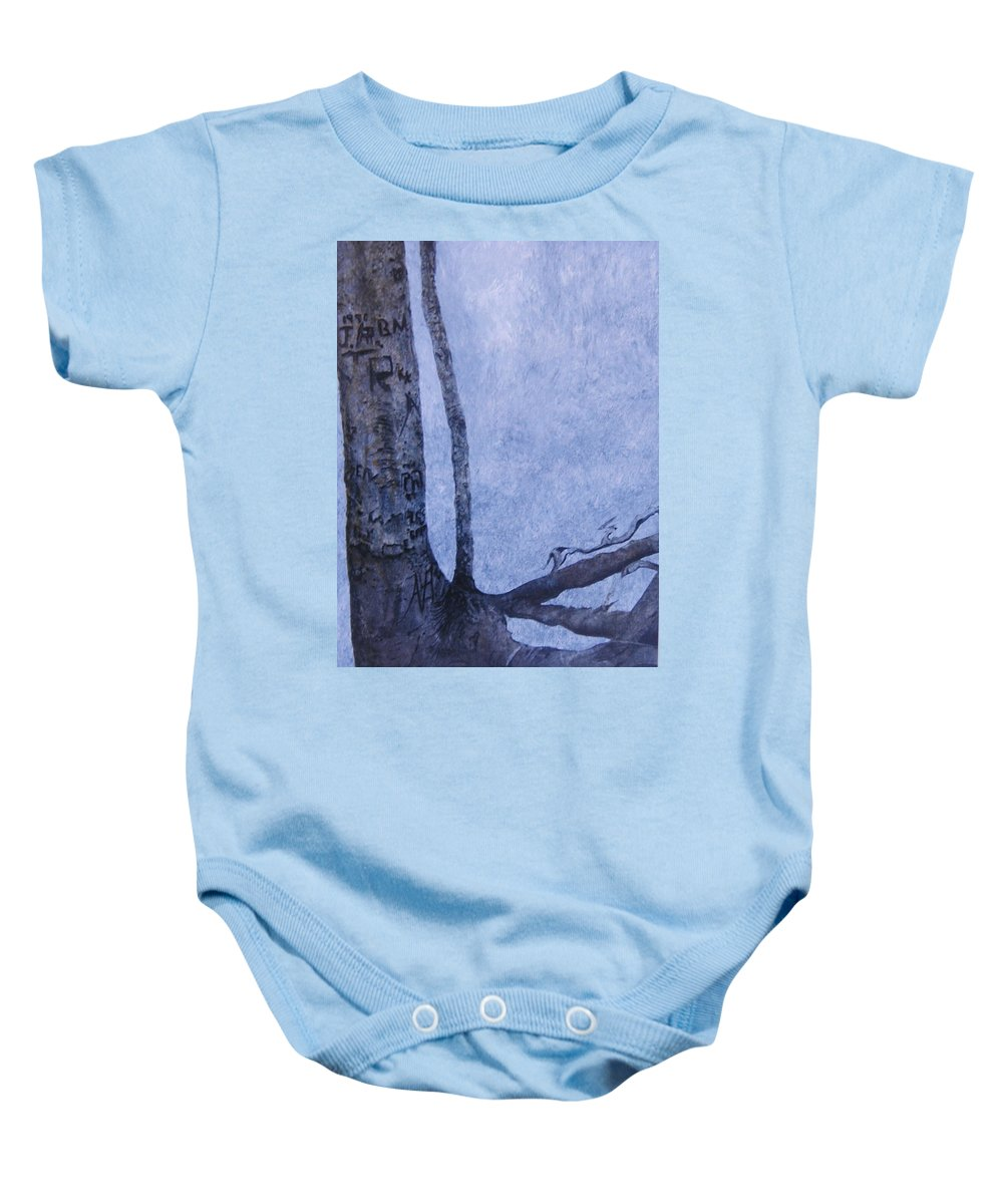 Tree Trunk Baby Onesie featuring the painting Hedden Park II by Leah Tomaino