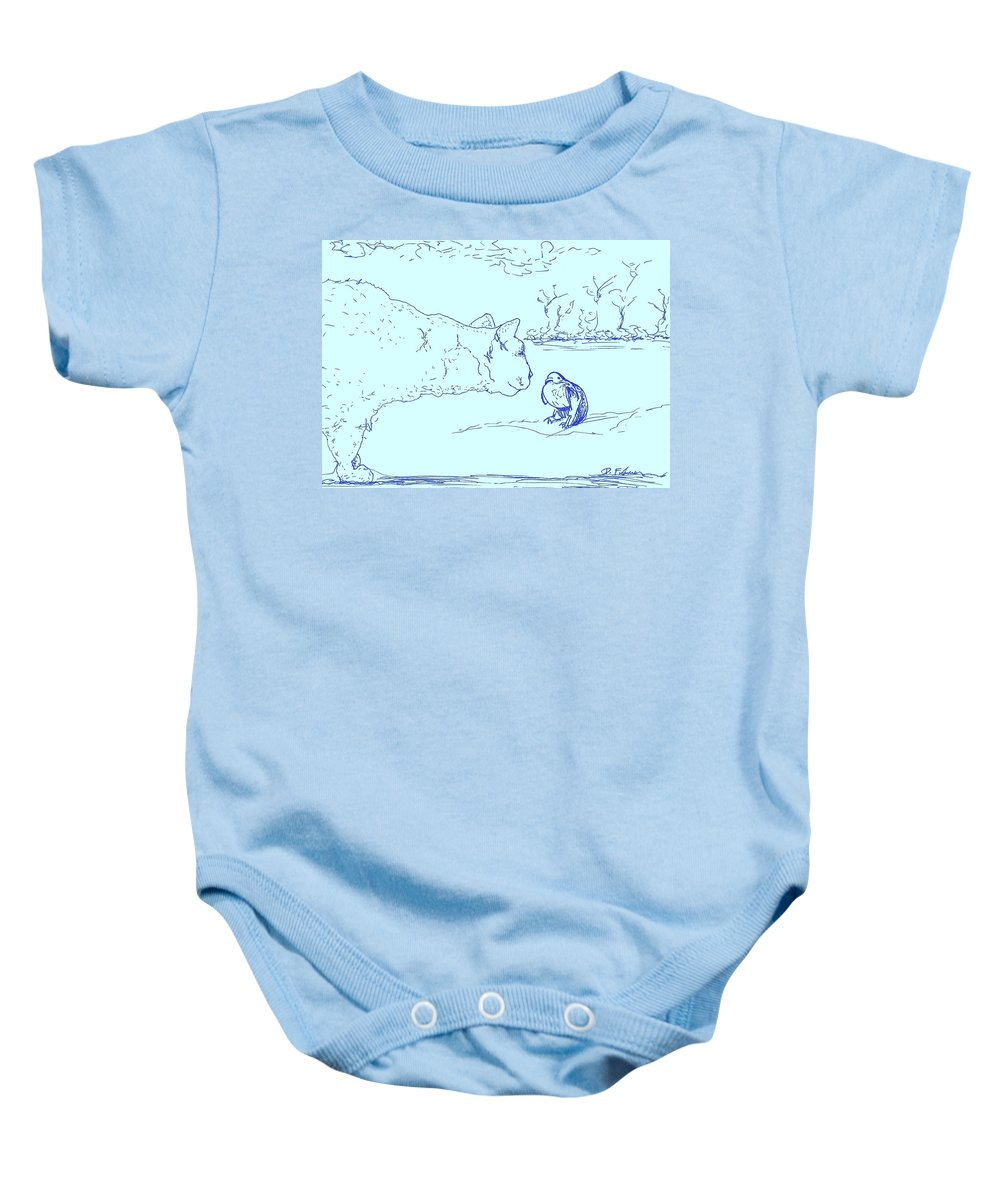 Cat Baby Onesie featuring the drawing Hello Birdie by Denise Fulmer