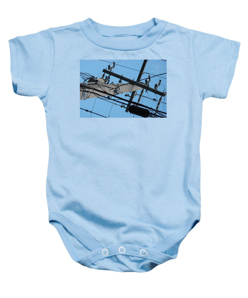 Sky Baby Onesie featuring the photograph High Wire by Rob Hans