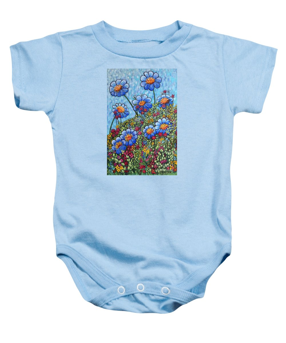 Blue Flowers Baby Onesie featuring the painting Hillside Blues by Holly Carmichael