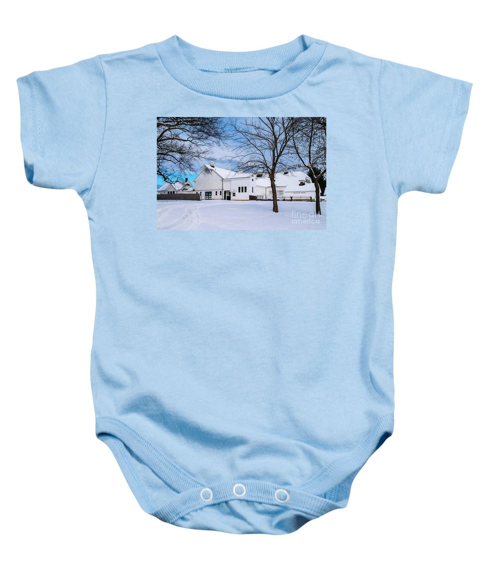 Antique Barn Baby Onesie featuring the photograph Hilltip Farm In Snow by Libby Lord