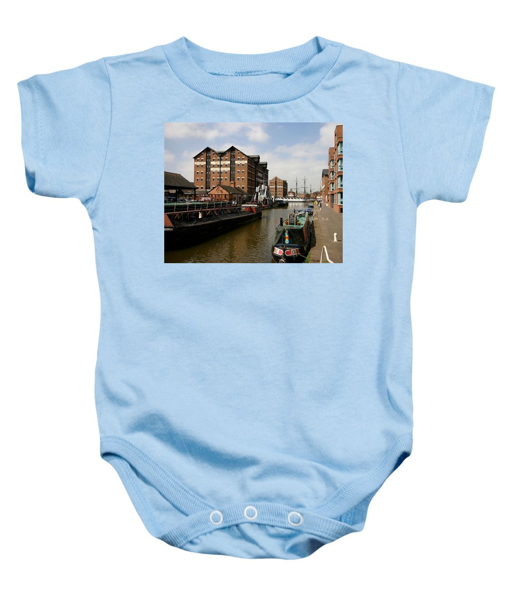 Gloucester Docks Historic National Waterways Museum Barge Warehouse Baby Onesie featuring the photograph Historic Gloucester Docks by Andy Lloyd