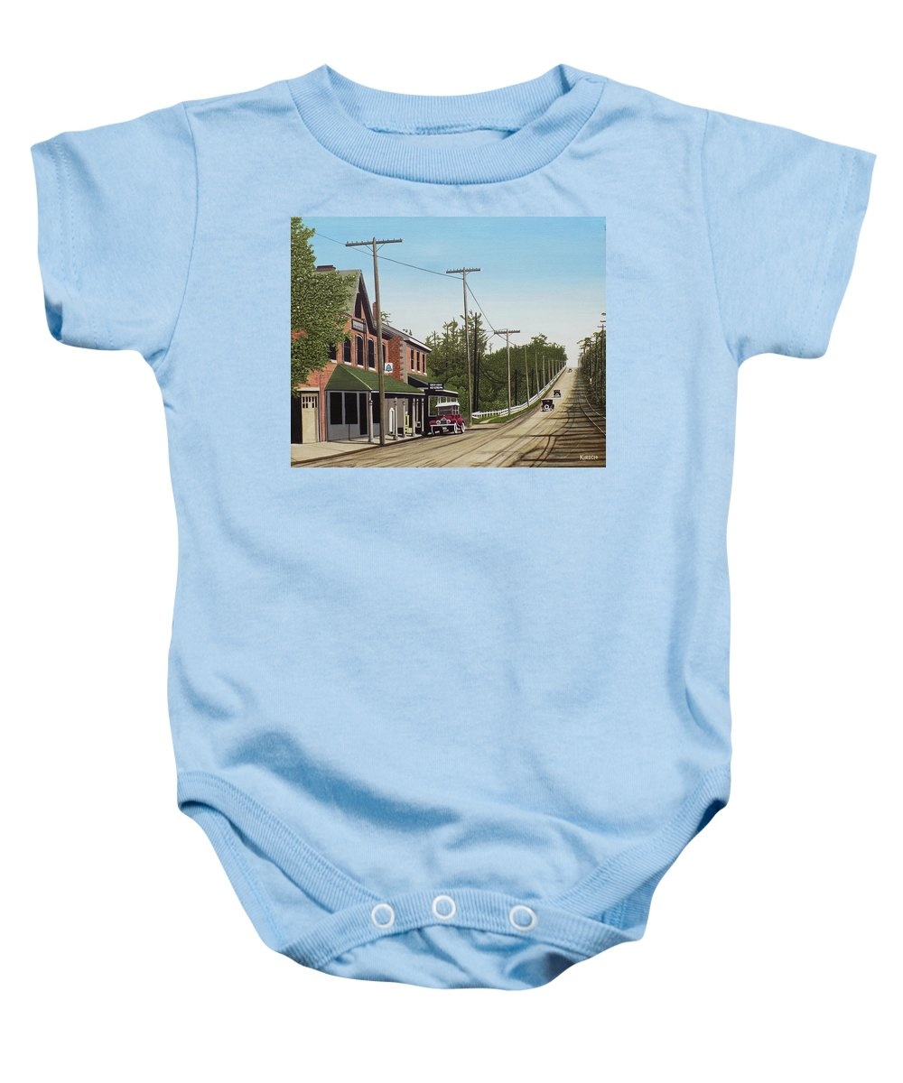 Streetscapes Baby Onesie featuring the painting Hoggs Hollow Toronto 1920 by Kenneth M Kirsch
