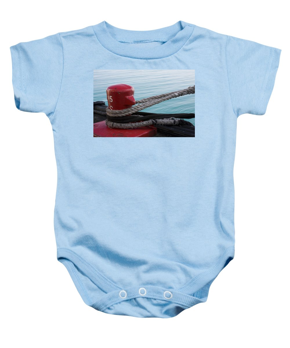 Chicago Windy City Navy Pier Lake Michigan Water Red Blue Wave Rope Ship Boat Baby Onesie featuring the photograph Holding Tight by Andrei Shliakhau