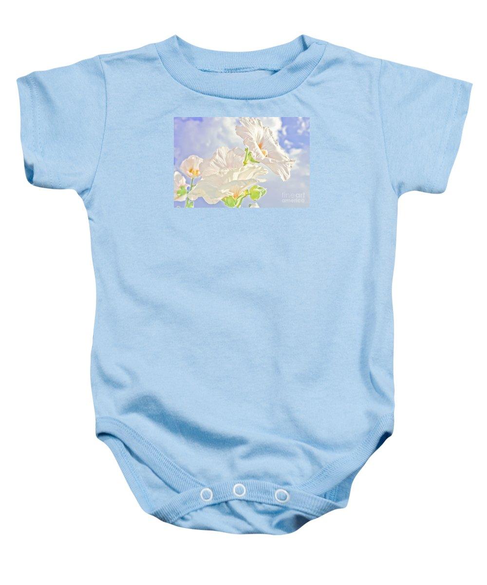 Flowers Baby Onesie featuring the photograph Hollyhocks And Sky by Barbara Dean