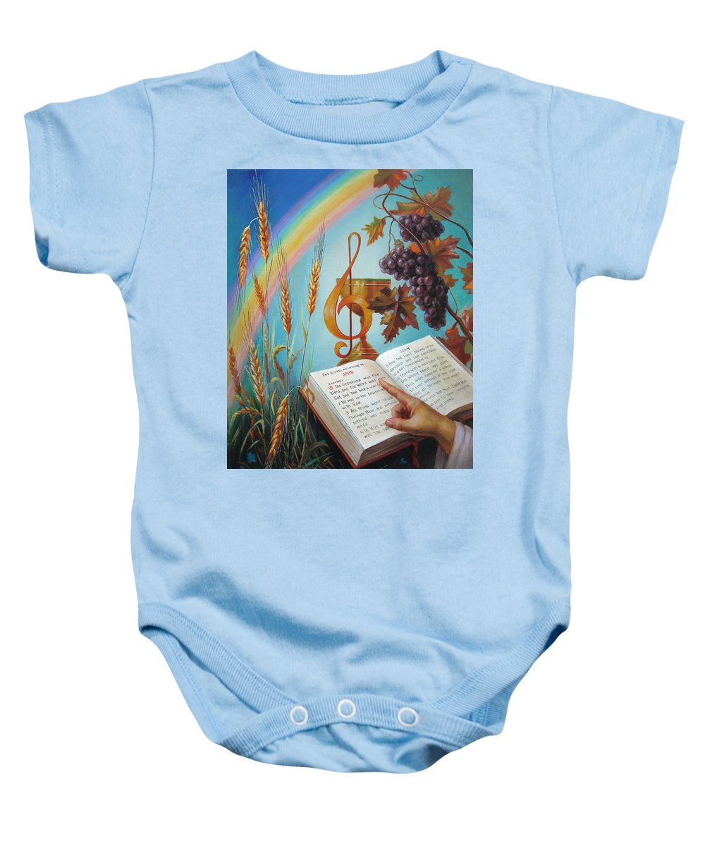 Holy Baby Onesie featuring the painting Holy Bible - The Gospel According To John by Svitozar Nenyuk