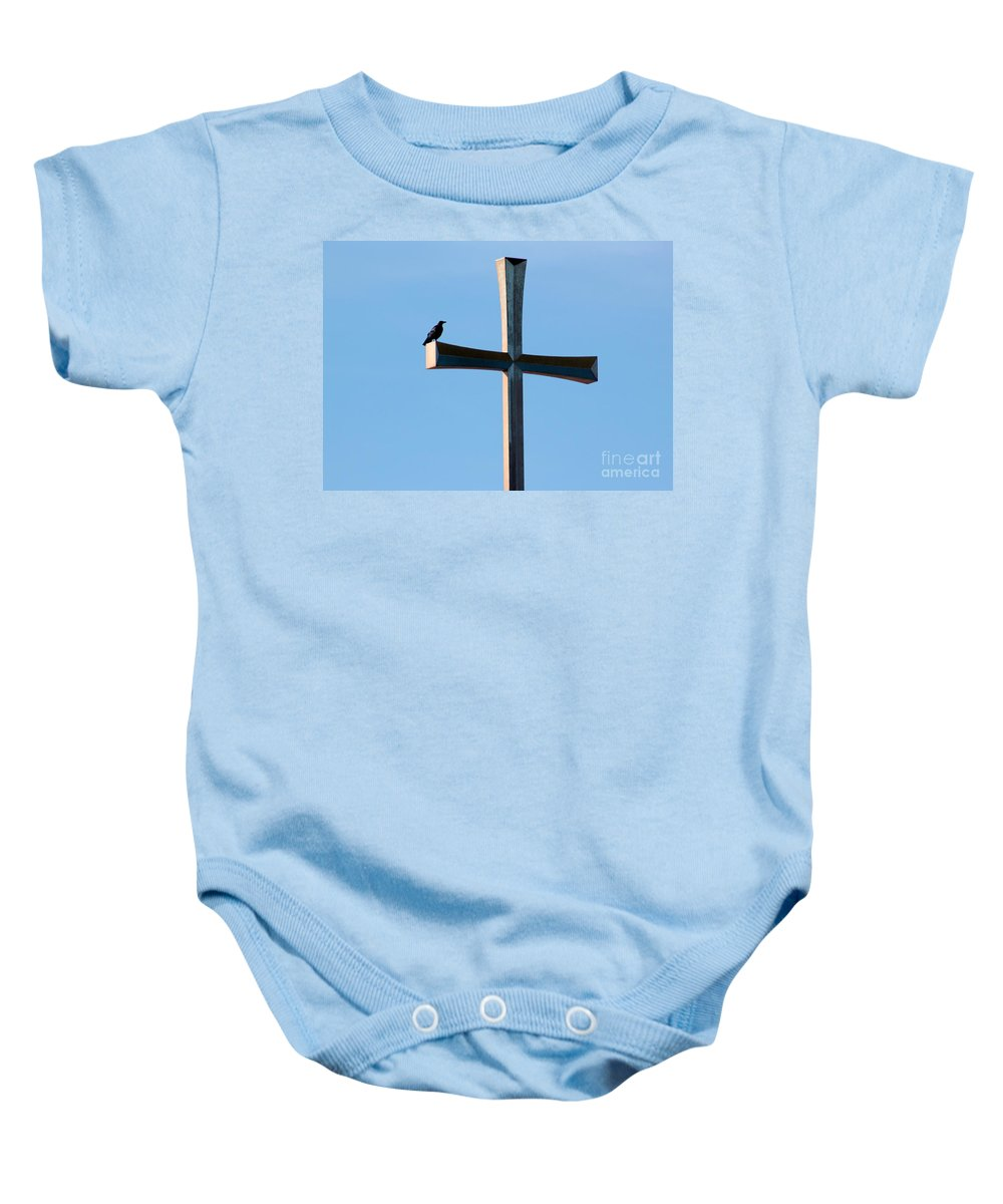 Crow Baby Onesie featuring the photograph Holy Crow by Robert Wilder Jr