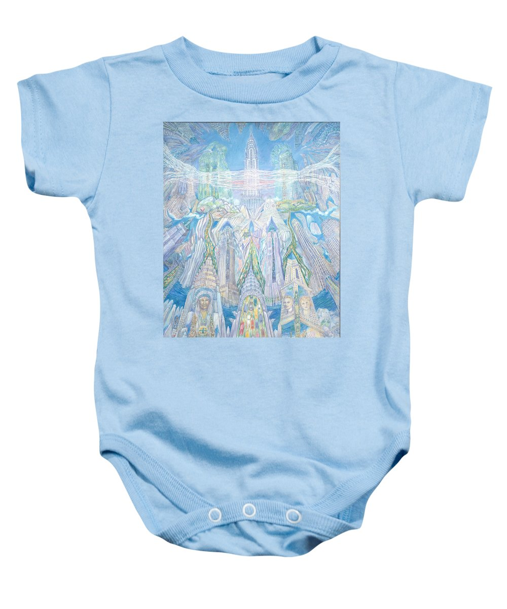 New York Cityscape Baby Onesie featuring the painting Homage To New York And The Chrysler Building by Patricia Buckley
