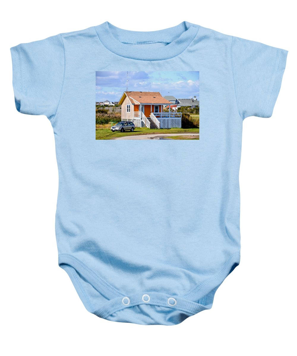 Home In Nags Head Baby Onesie featuring the painting Home In Nags Head 3 by Jeelan Clark