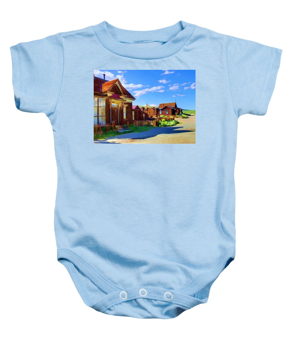 Bodie Baby Onesie featuring the photograph Homes Of The Past by Ricky Barnard