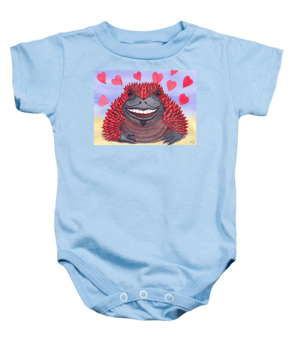 Toad Baby Onesie featuring the painting Horny Toad by Catherine G McElroy