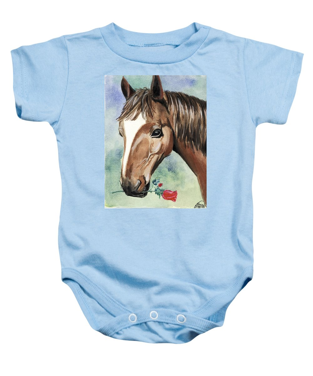 Horse Baby Onesie featuring the painting Horse In Love by Alban Dizdari