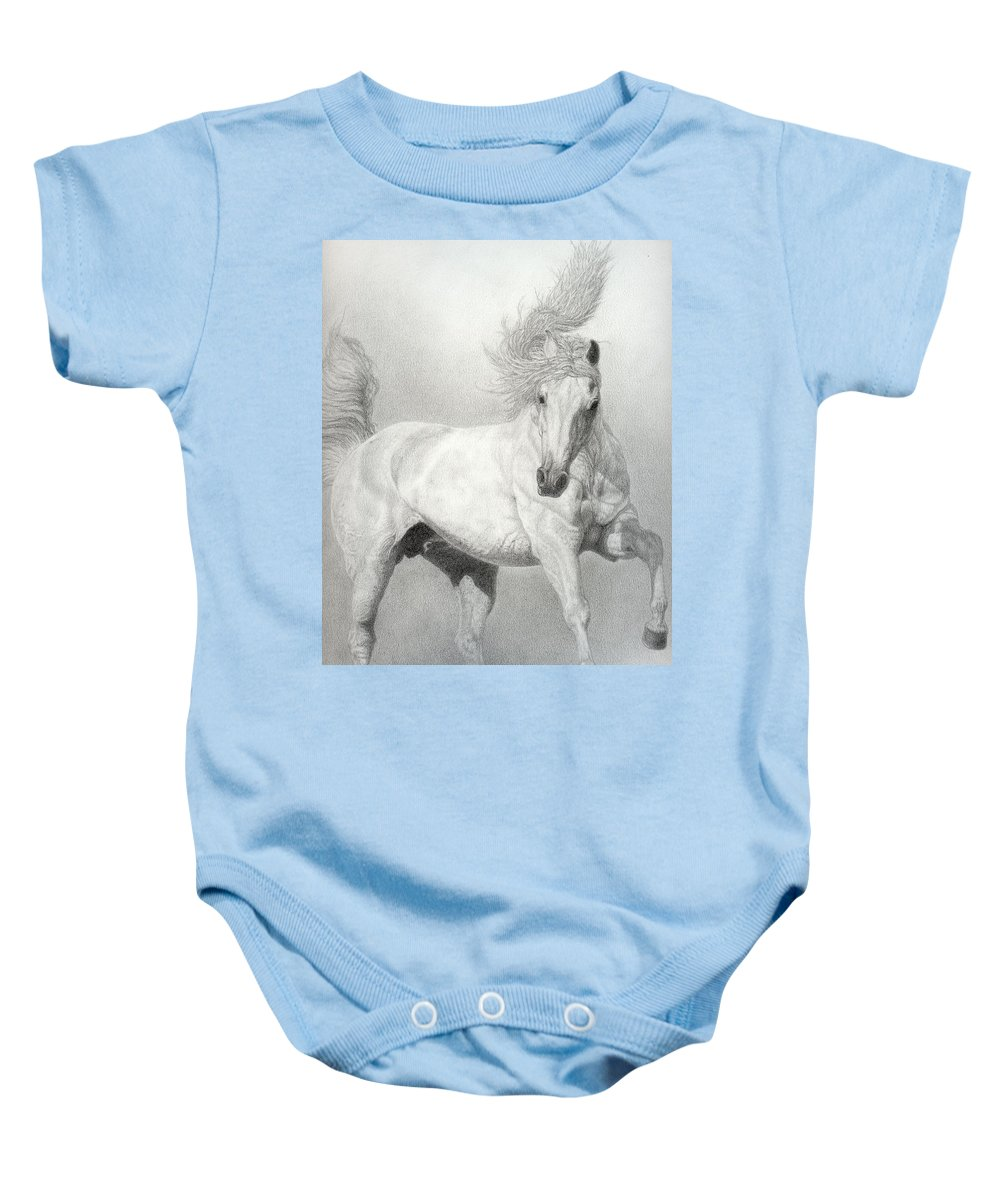 Equine Baby Onesie featuring the drawing Horse by Jennifer Nilsson