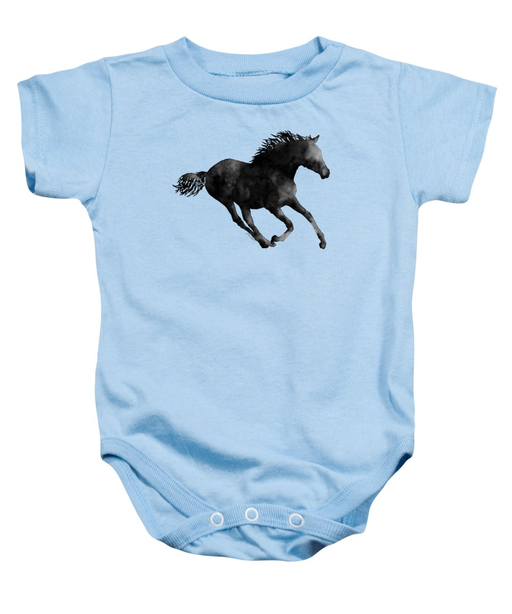 Horse Running In Black And White Onesie For Sale By Hailey E Herrera