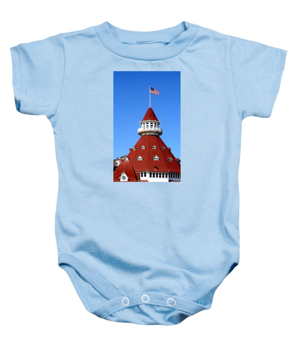 Hotel Baby Onesie featuring the photograph Hotel Del Coronado by Christopher Woods