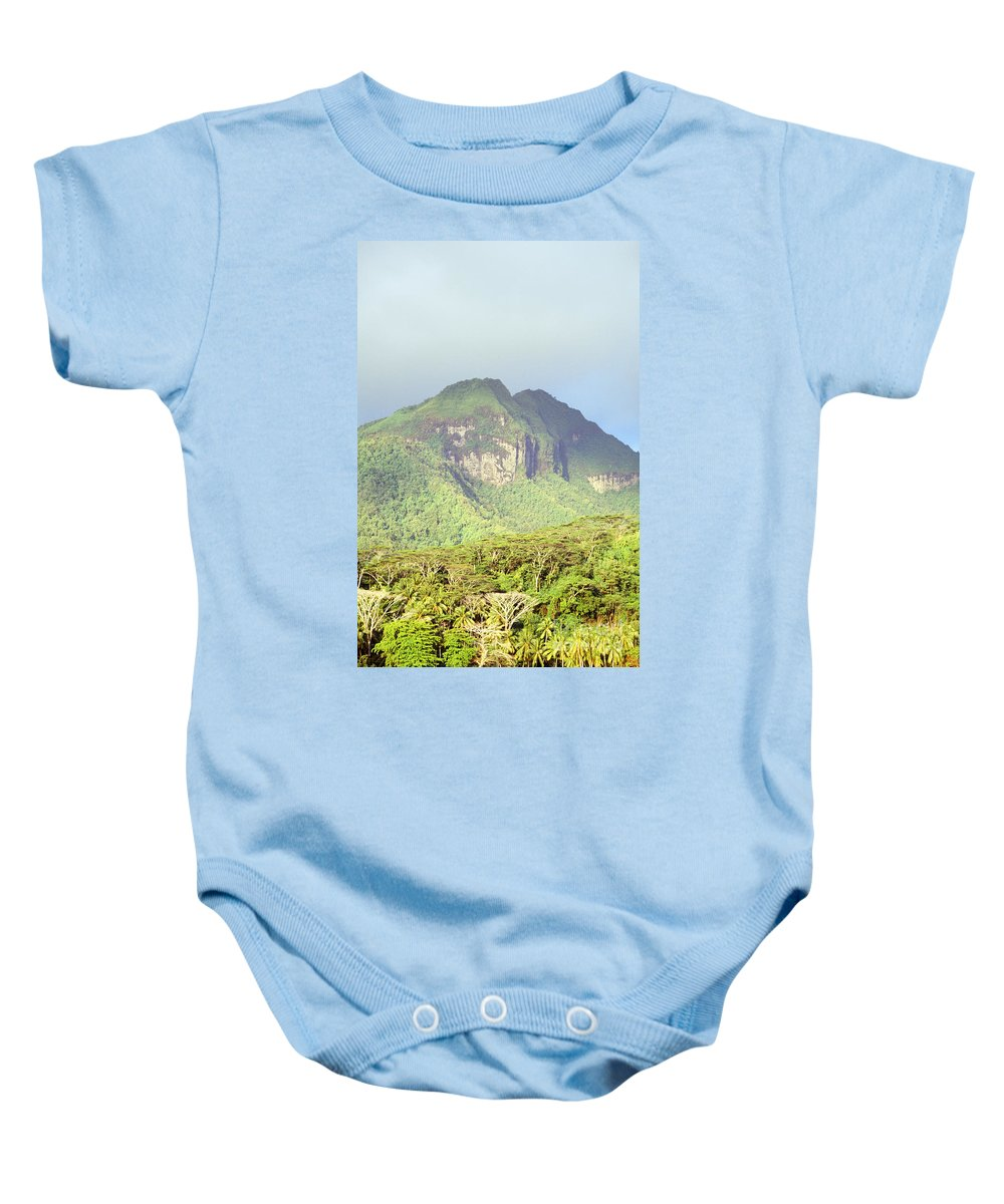 Cloud Baby Onesie featuring the photograph Huahine Forest And Mountaintop by Erik Aeder - Printscapes