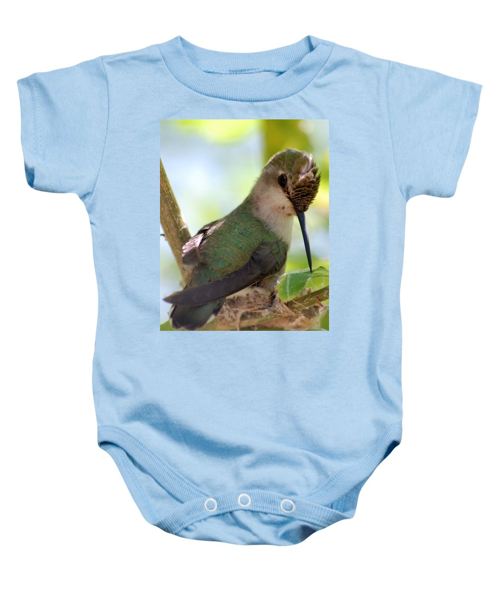 Hummingbird Baby Onesie featuring the photograph Hummingbird With Small Nest by Amy Fose