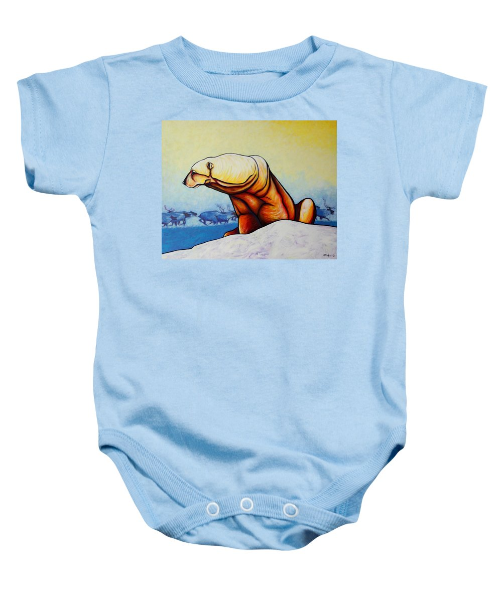 Wildlife Baby Onesie featuring the painting Hunger Burns - Polar Bear And Caribou by Joe Triano