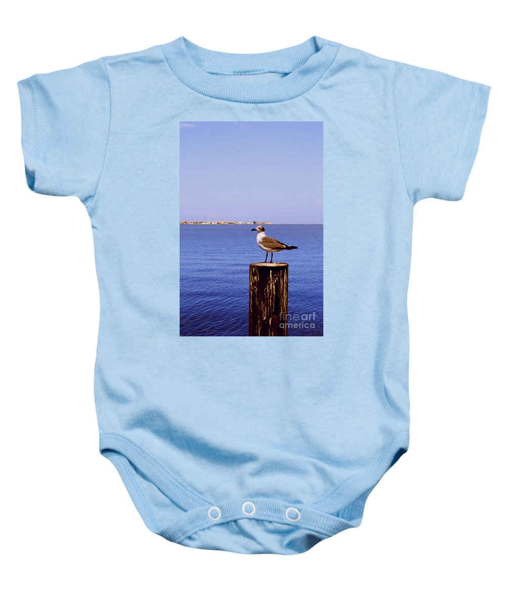 Sea Gull Baby Onesie featuring the photograph Hungry Sea Gull by Gary Wonning