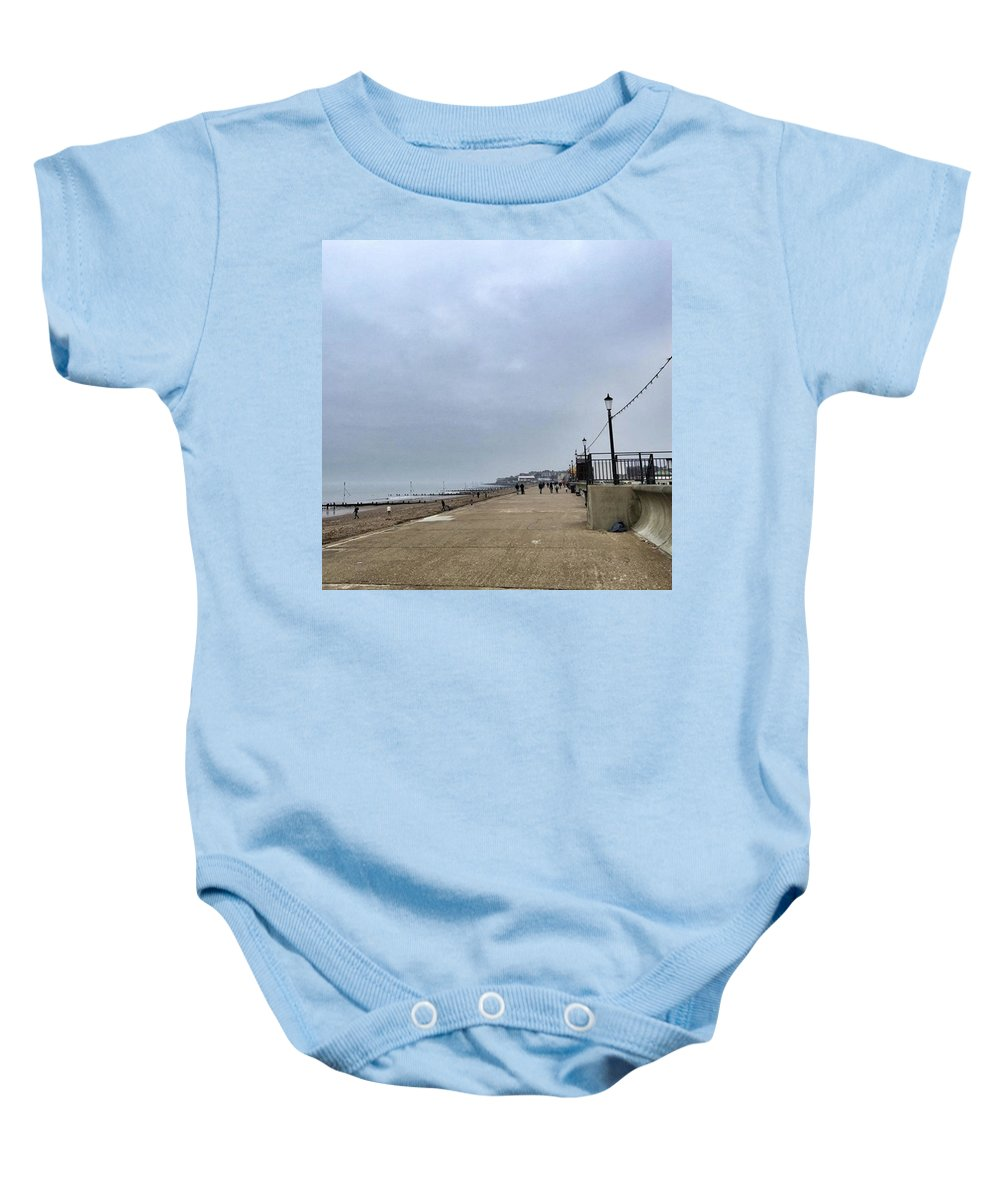 Beautiful Baby Onesie featuring the photograph Hunstanton At 4pm Yesterday As The by John Edwards