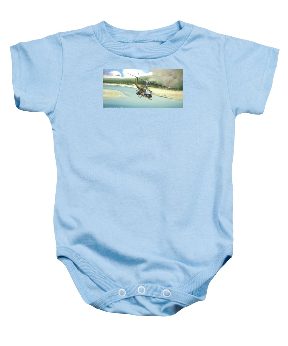 Military Baby Onesie featuring the painting Hunter Hueys by Marc Stewart