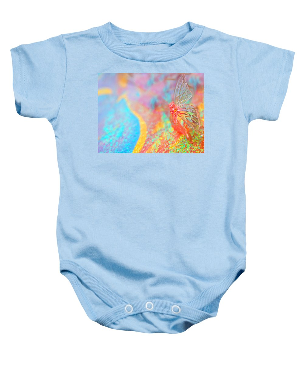 Abstract Baby Onesie featuring the photograph I Am Butterfly V2 by Alex Art and Photo