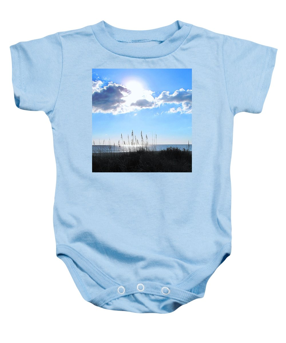 Ocean Baby Onesie featuring the photograph I Sat And Watched The Sun Go Down by Ian MacDonald