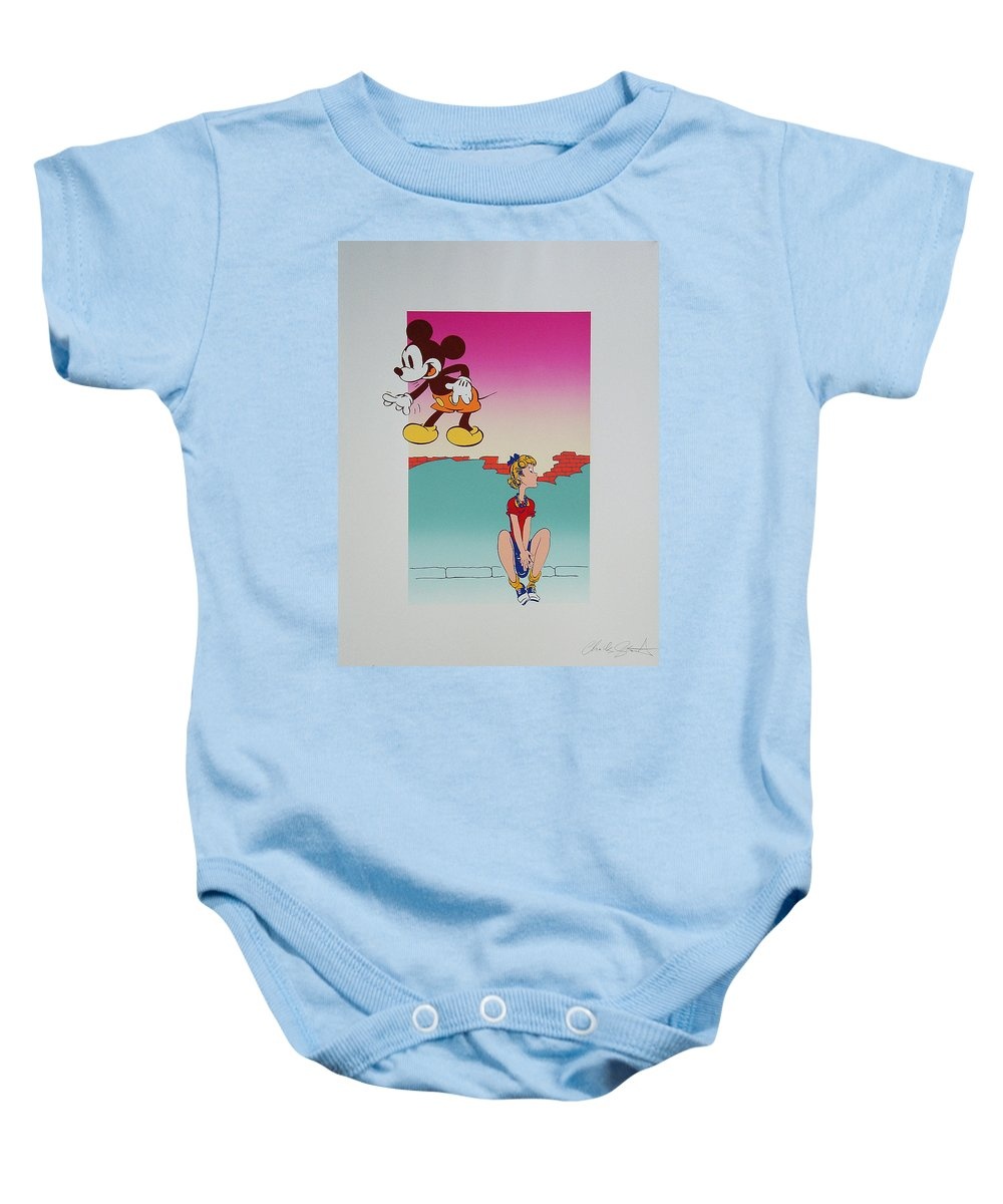 Street Baby Onesie featuring the mixed media I Saw The Figure Five In Gold IIi by Charles Stuart