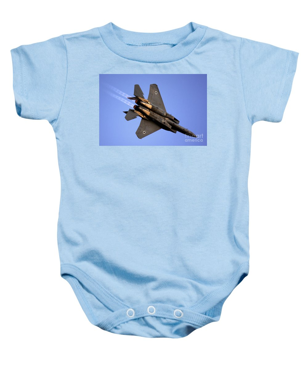 Aircraft Baby Onesie featuring the photograph Iaf F15i Fighter Jet On Blue Sky by Nir Ben-Yosef