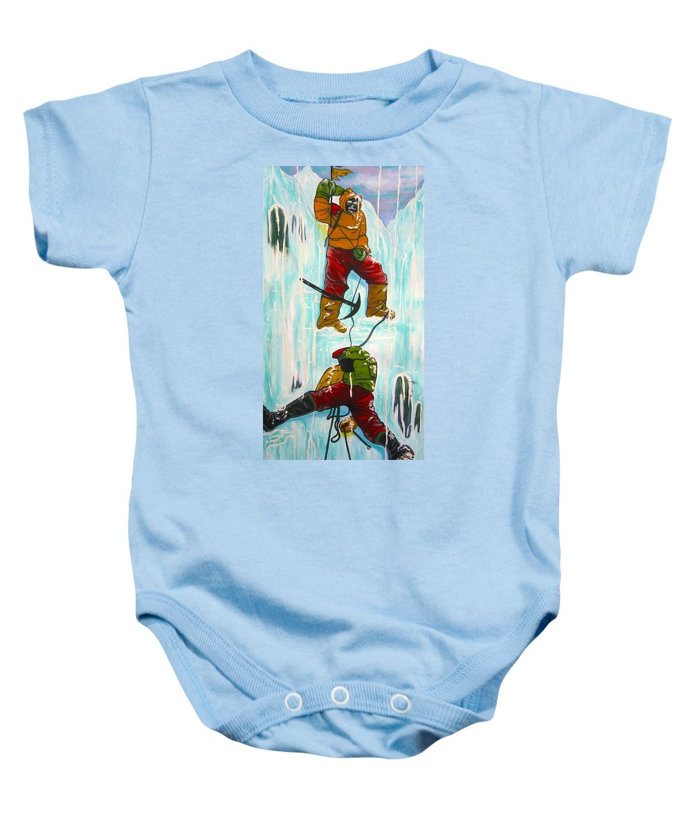Abstract Sports Baby Onesie featuring the painting Ice Climbers by V Boge