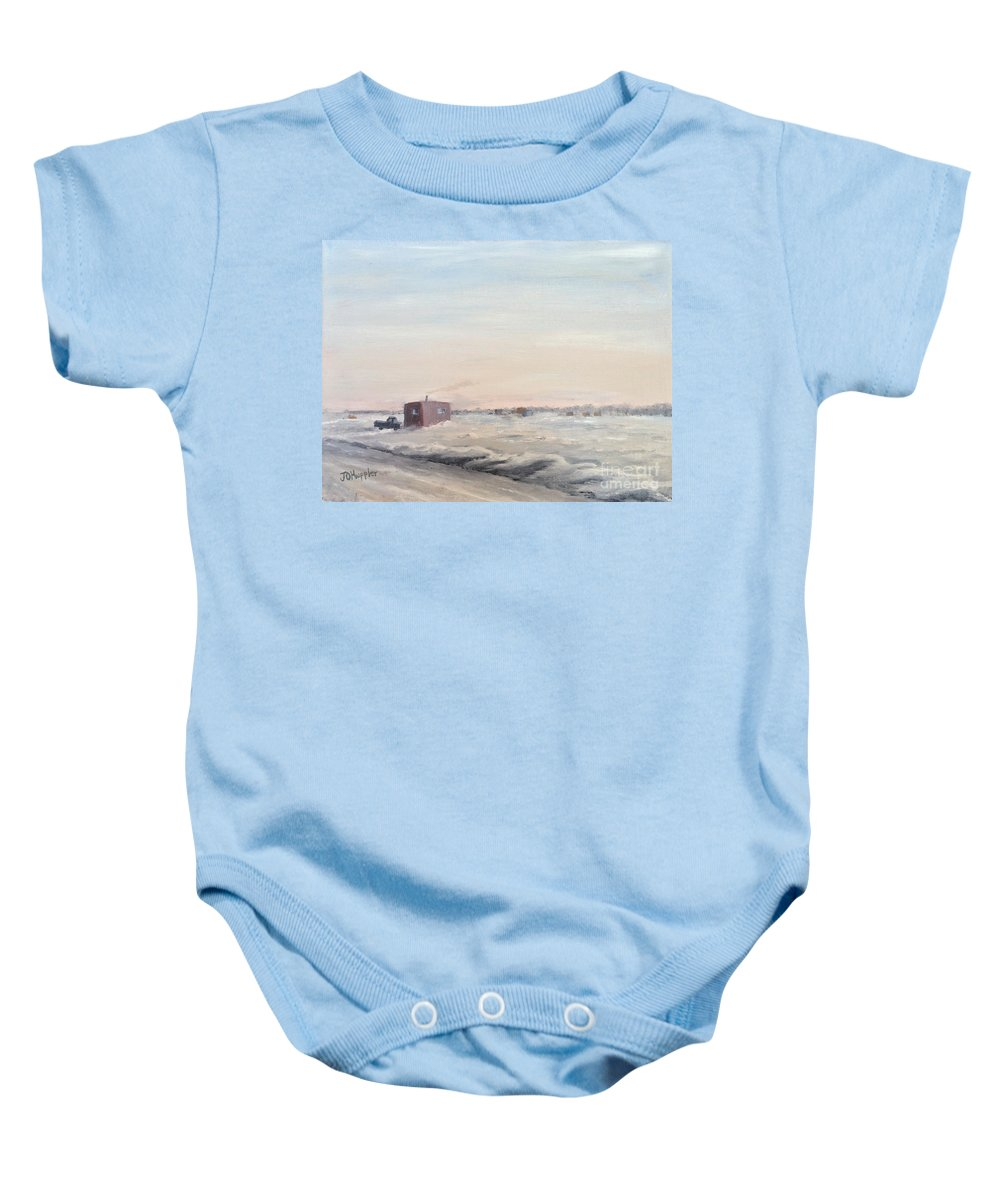 Landscape Baby Onesie featuring the painting Ice Houses On Mille Lacs by J O Huppler