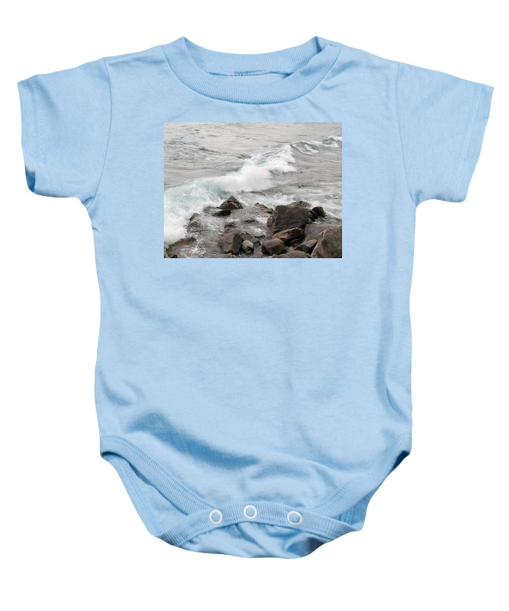 Wave Baby Onesie featuring the photograph Icy Waves by Kelly Mezzapelle