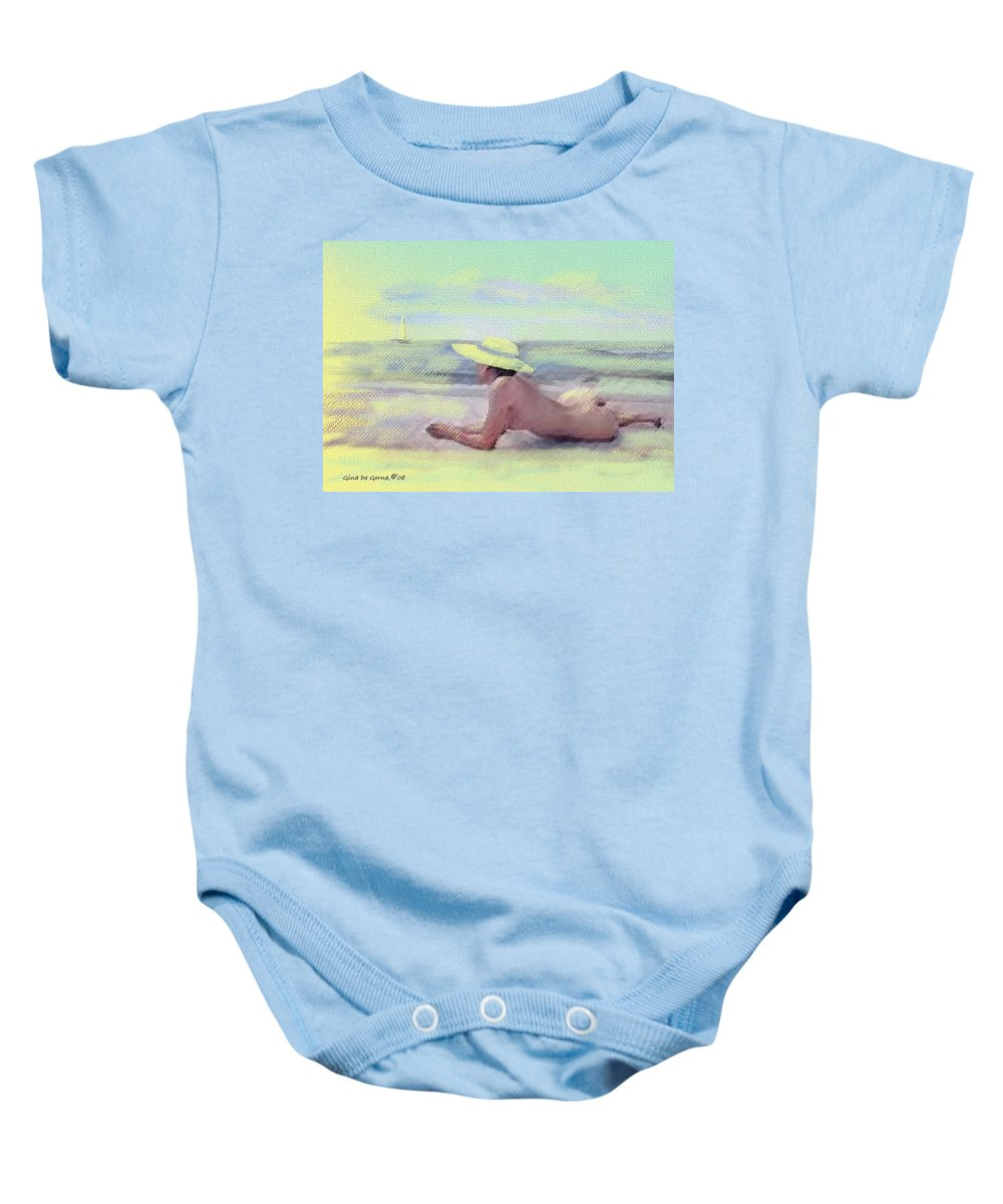 Original Art Baby Onesie featuring the pastel Imagine by Gina De Gorna