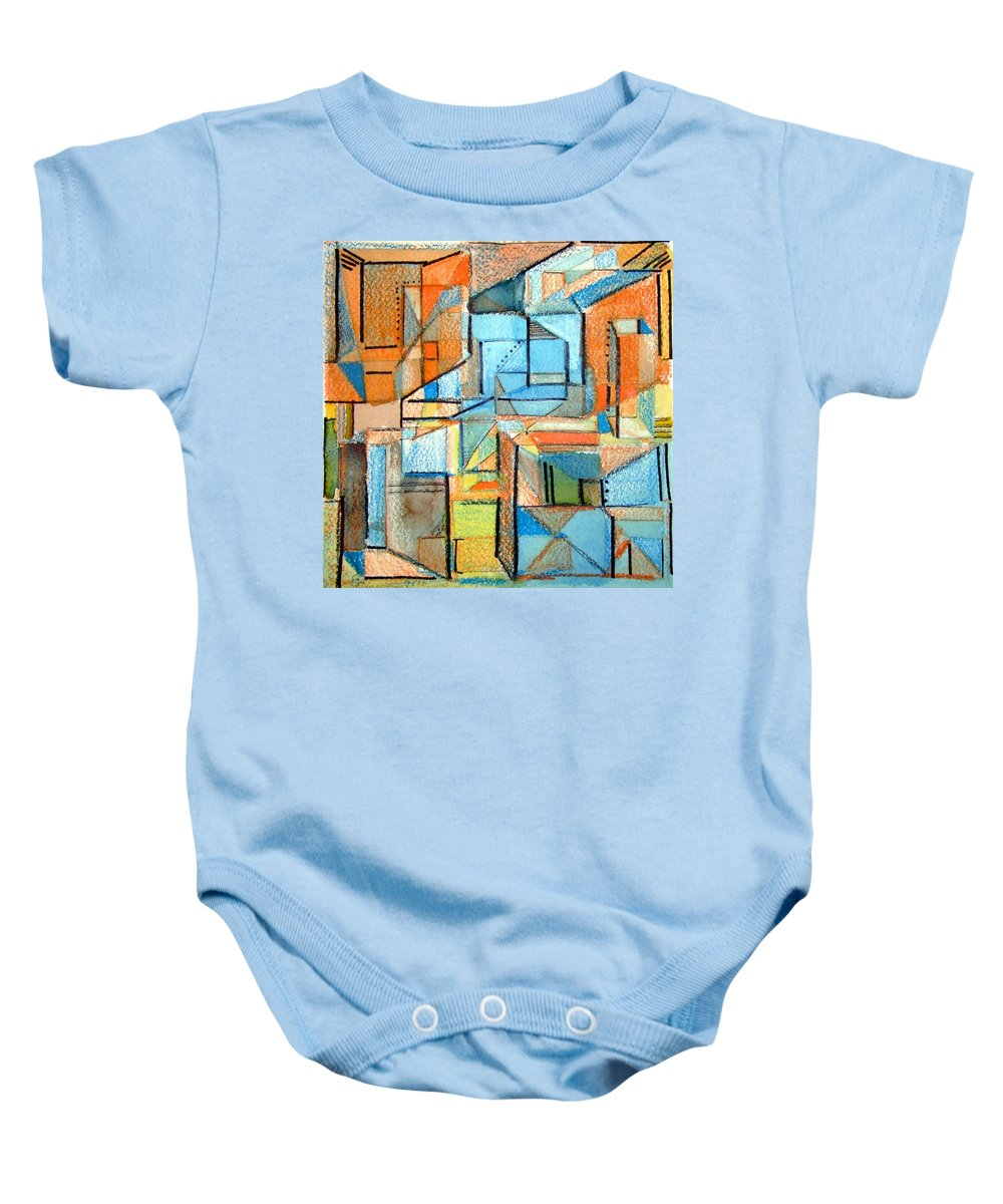 Abstraction Baby Onesie featuring the painting In And Out by Mindy Newman